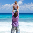 Father and son on beach vacation — Stock Photo