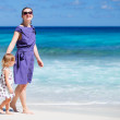 Mother and daughter at beach — Stock Photo