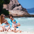 Family with two kids on vacation — Stok fotoğraf
