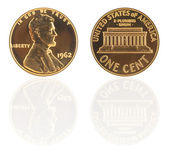 USA one cent with reflection — Stock Photo