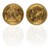 Gold sovereign with reflection — Stock Photo