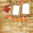 Wooden frame with autumn leaves - Stock Photo