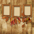 Autumn frame on wooden background - Stock Photo