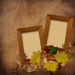 Wooden frame on vintage background - Stock Photo