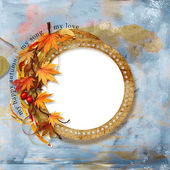Old autumn frame on shabby background — Stock Photo
