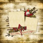 Christmas greeting card with nutcracker — Stock Photo