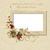 Vintage Christmas frame with the wishes — Stock Photo