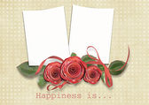 Vintage card for congratulation with roses — Stock Photo