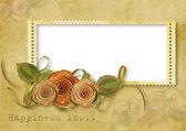 Sfondo vintage con timbro-telaio e Rose — Foto Stock