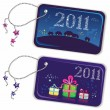 Stock Vector: New year trinket tags 2011