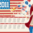 USA calendar for 2011 — Stock Vector