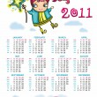 2011 calendar with sweet fairy - Stock Vector
