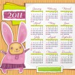 Rabbit calendar 2011 - Stock Vector