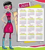 2011 calendar with fashion girl — Stock Vector