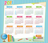 2011 school calendar — Stock Vector