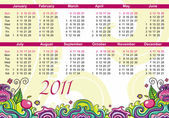 Calendar for 2011 — Stock Vector