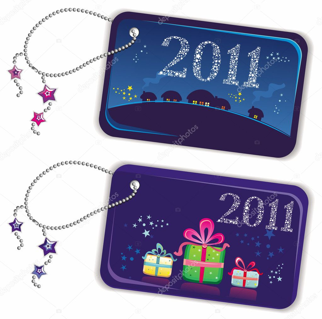 New year trinket tags 2011 — Stock Vector #4012001