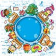 Happy children writing letters to Santa Claus. Christmas greeting card 2 — 图库矢量图片