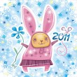 Vector card with cute little rabbit girl celebrating New Year — Stock Vector