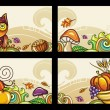 Vector set of decorative autumnal cards 1 - Stock Vector