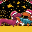 Colorful Christmas greeting card with cute Santa Dachshunds — Stockvectorbeeld