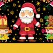 Christmas greeting card with Santa Claus and cute girls — Imagen vectorial