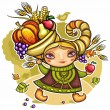 Vector de stock : Happy cute girl wearing Cornucopia hat