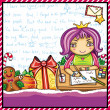 Little girl, wearing crown, writing a letter to Santa — Stock Vector