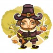 Thanksgiving happy cartoon pilgrim man with blunderbuss - Stock Vector
