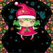 Colorful Christmas greeting card with cute Christmas Elf — Vettoriali Stock