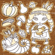 Cartoon Thanksgiving set of design elements - Stock Vector