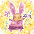 Vector card with cute little rabbit girl celebrating New Year - Stock Vector