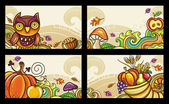 Vector set of decorative autumnal cards 1 — Stock Vector