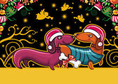 Colorful Christmas greeting card with cute Santa Dachshunds — Stock Vector