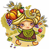Happy cute girl wearing Cornucopia hat — 图库矢量图片