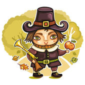 Thanksgiving happy cartoon pilgrim man with blunderbuss — Stock Vector
