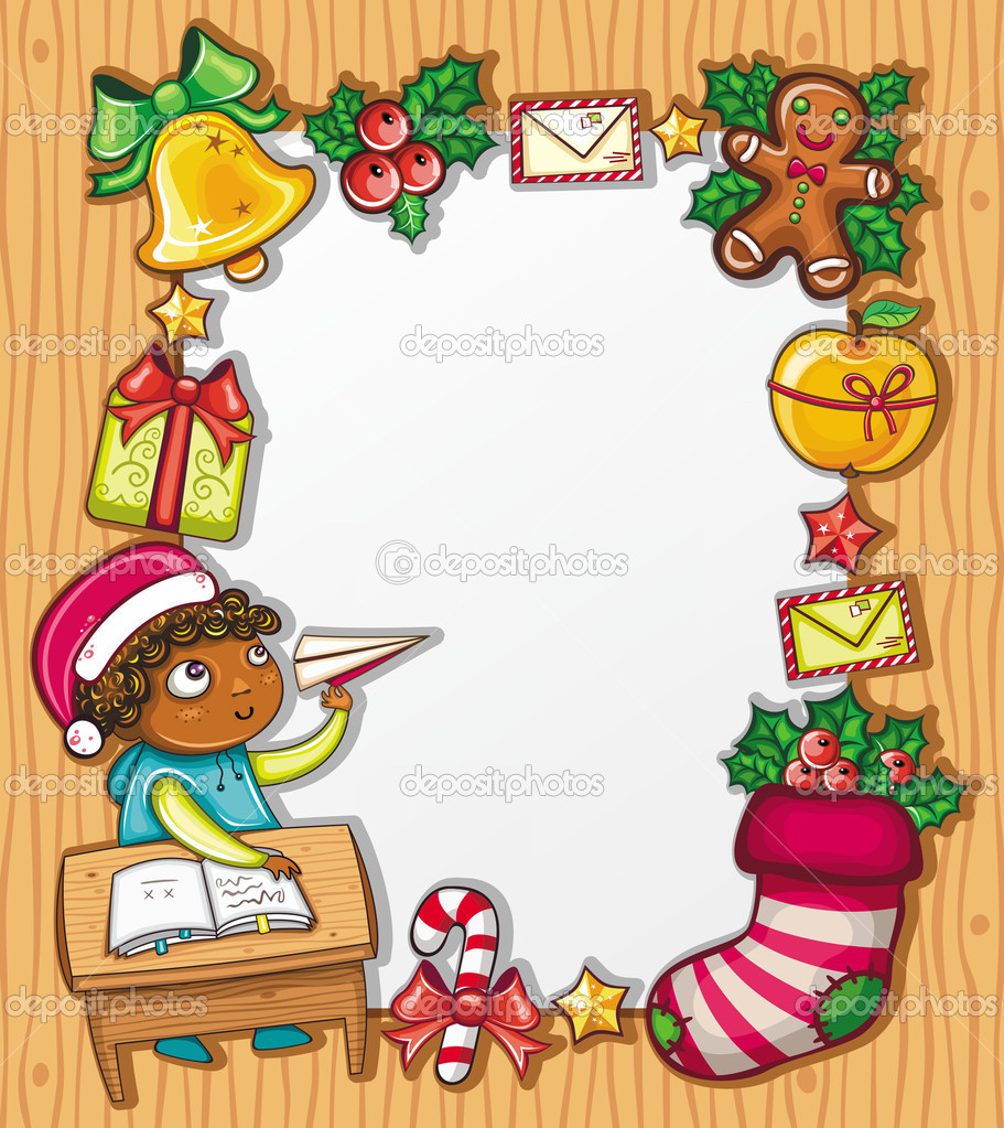 Boy Writing Letter To Santa Stock Images