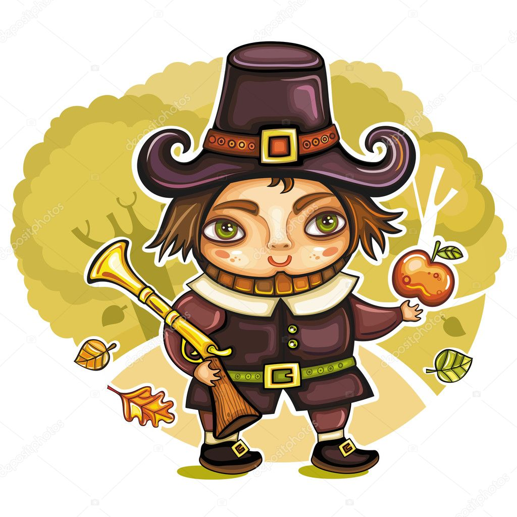 Thanksgiving holiday theme: Pilgrim boy in the autumn forest. Raffle, apple, falling leaves  Stock Vector #4159856