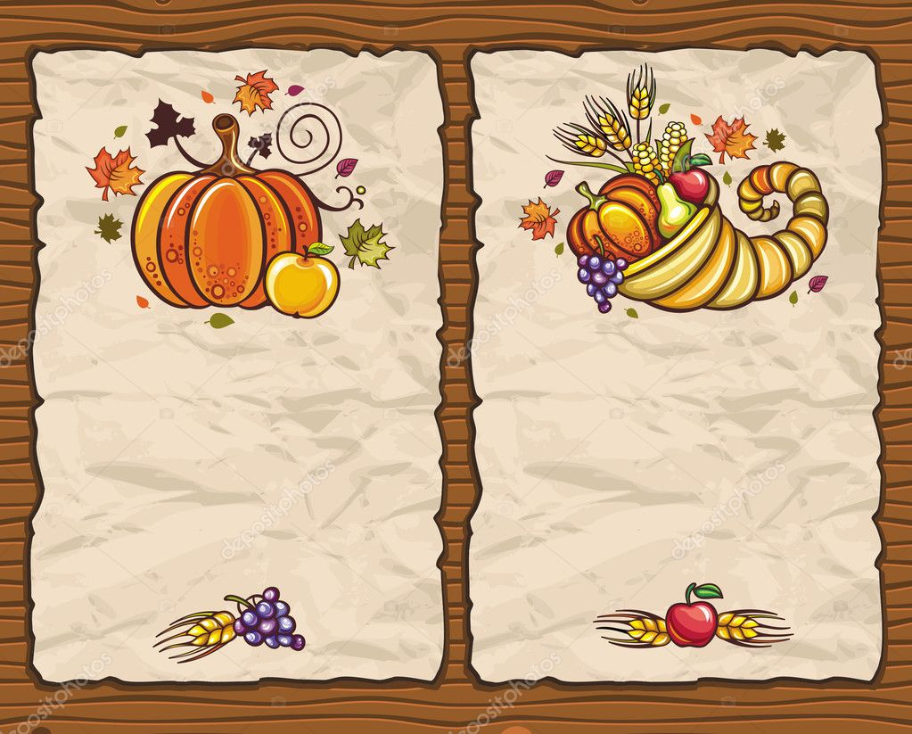 Thanksgiving holiday theme: Holiday paper arrangements with the space for your own text on the wooden background. Horn Of Plenty, autumn leaves, grapes  Stock Vector #4159866