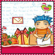 Little boy, wearing crown, writing a letter to Santa 4 — Stock Vector
