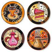 Coffe, tea, yerba mate, drink coasters 1 — Stock Vector
