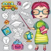 School icons series — Stock Vector