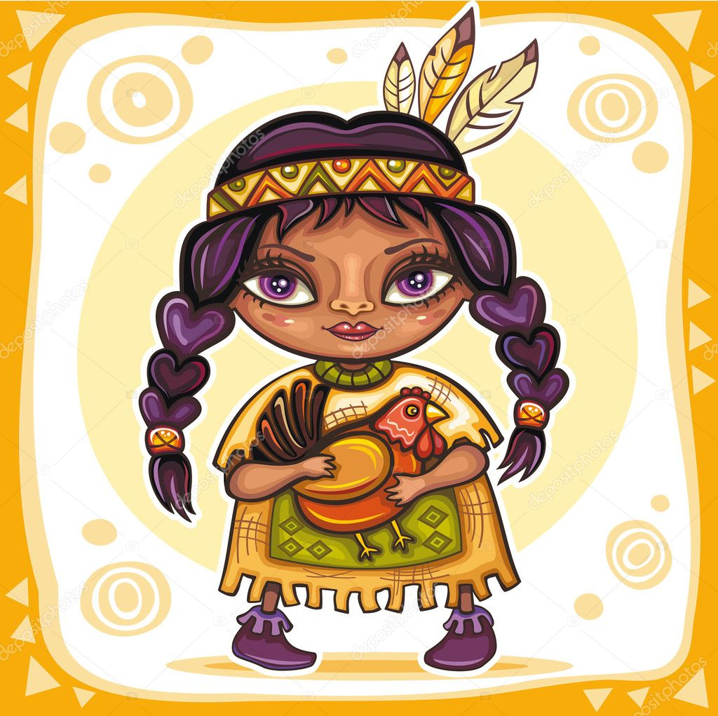 Thanksgiving theme. Cute Indian girl with turkey in her hands — Grafika wektorowa #4262181