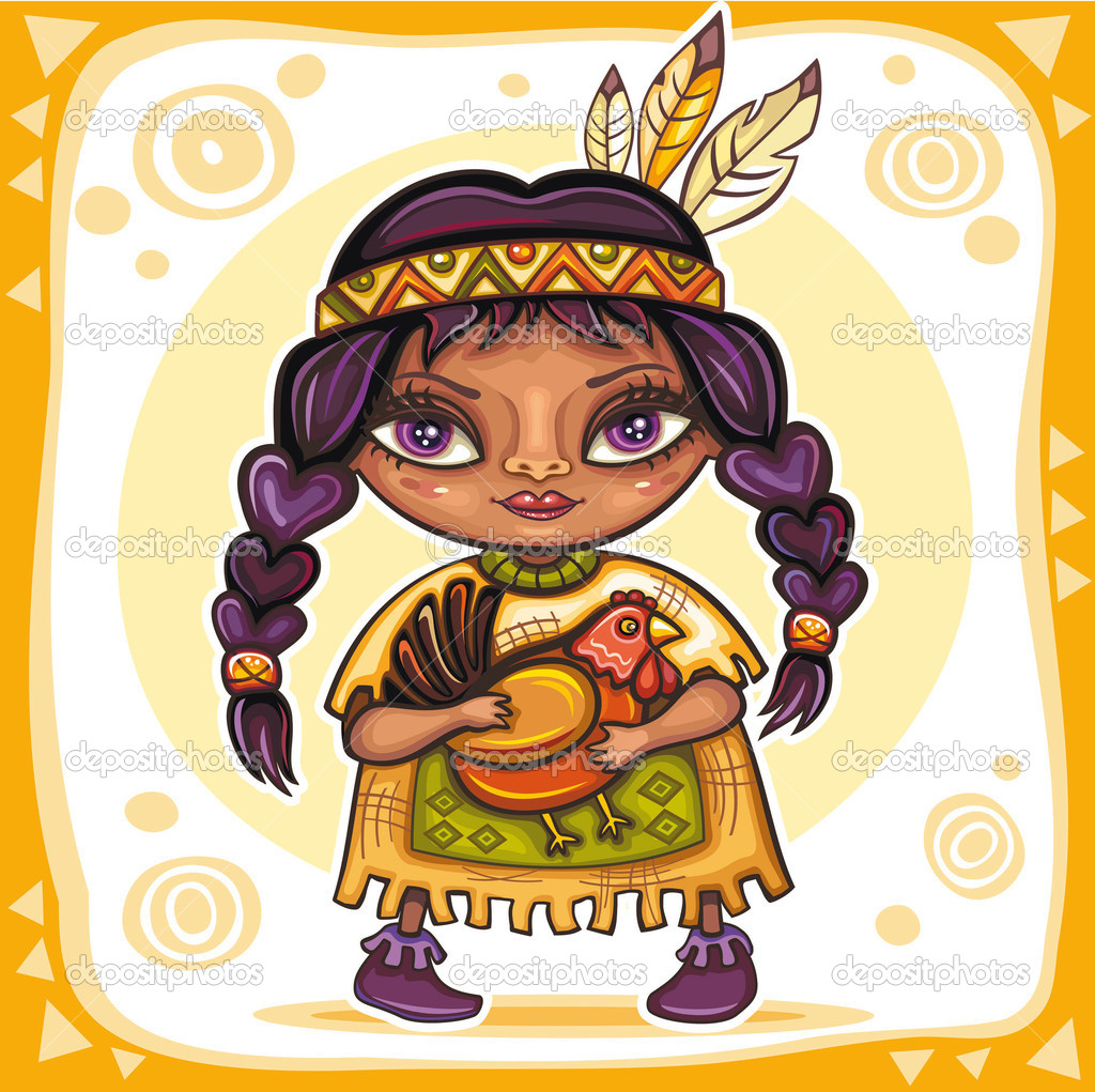 Thanksgiving theme. Cute Indian girl with turkey in her hands — Imagen vectorial #4262181