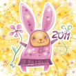 Stock Vector: Vector card with cute little rabbit girl celebrating New Year