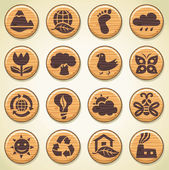 ECO. Wooden environment icons set — Stock Vector