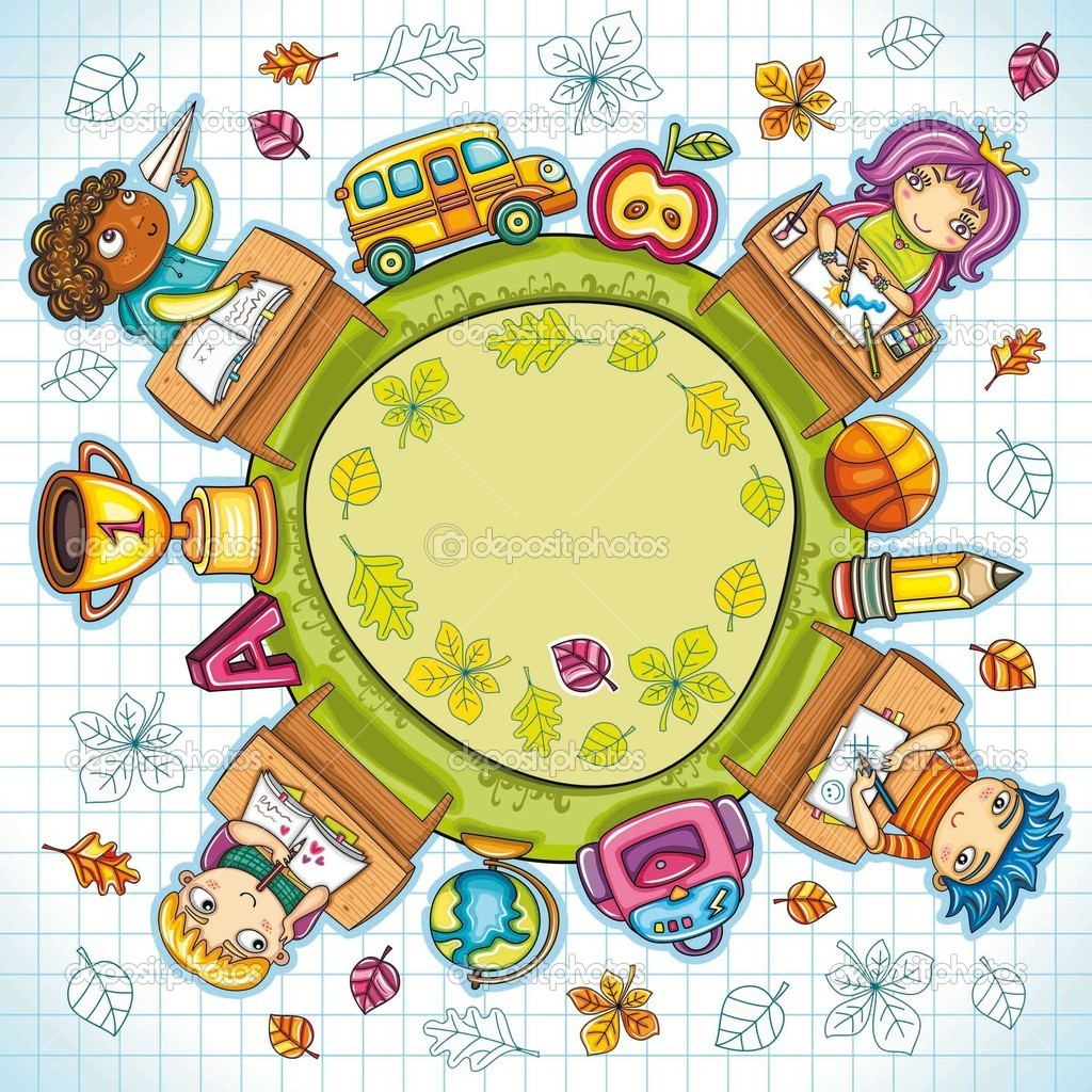 Colorful round composition, with cute schoolchildren and school design elements. with space for your text.   Stock Vector #4303025