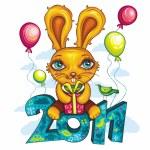 Funny cartoon bunny — Stock Vector