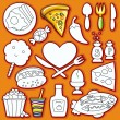 Vector doodle cute set of food icons. part 2 — ストックベクタ