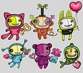 Valentine's day vector toy animals. — Stock Photo